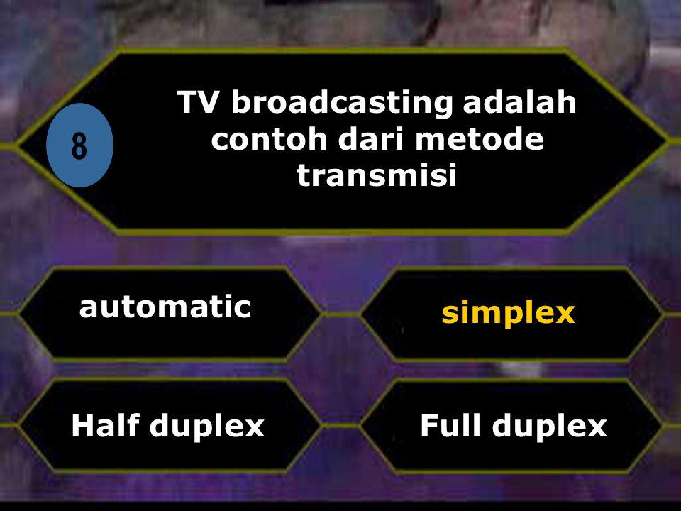 TV broadcasting adalah contoh dari metode transmisi