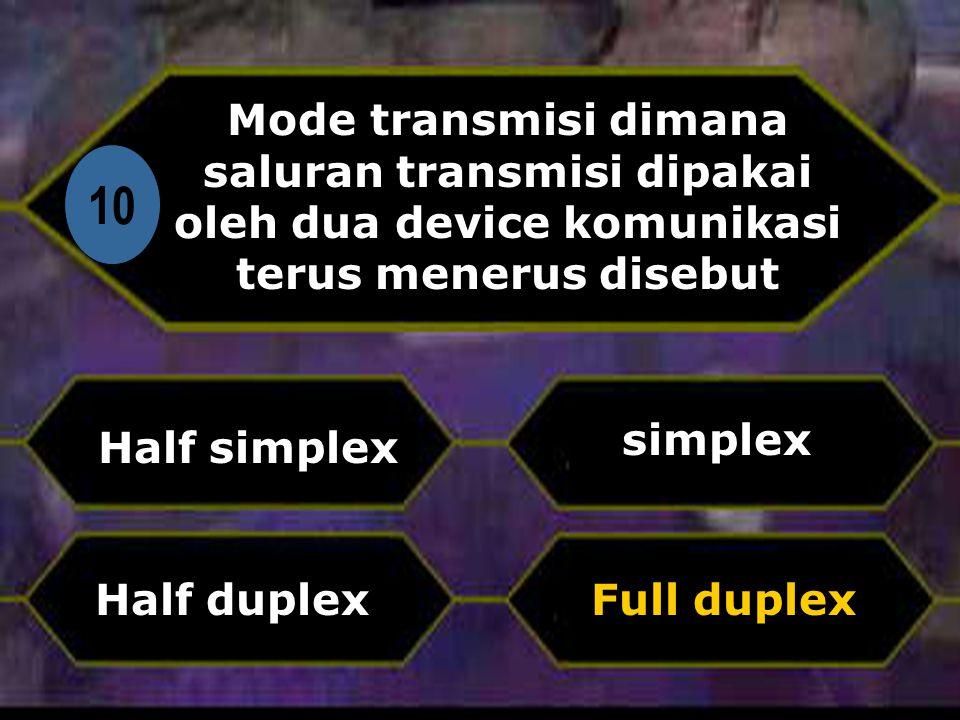 Mode transmisi dimana saluran transmisi dipakai oleh dua device komunikasi terus menerus disebut