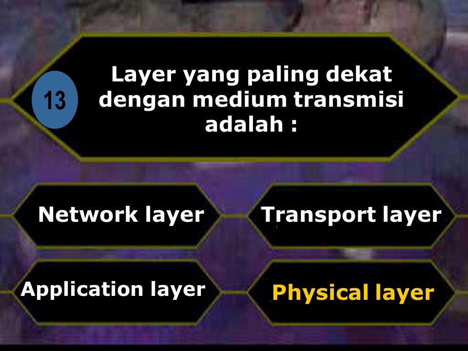 Layer yang paling dekat dengan medium transmisi adalah :