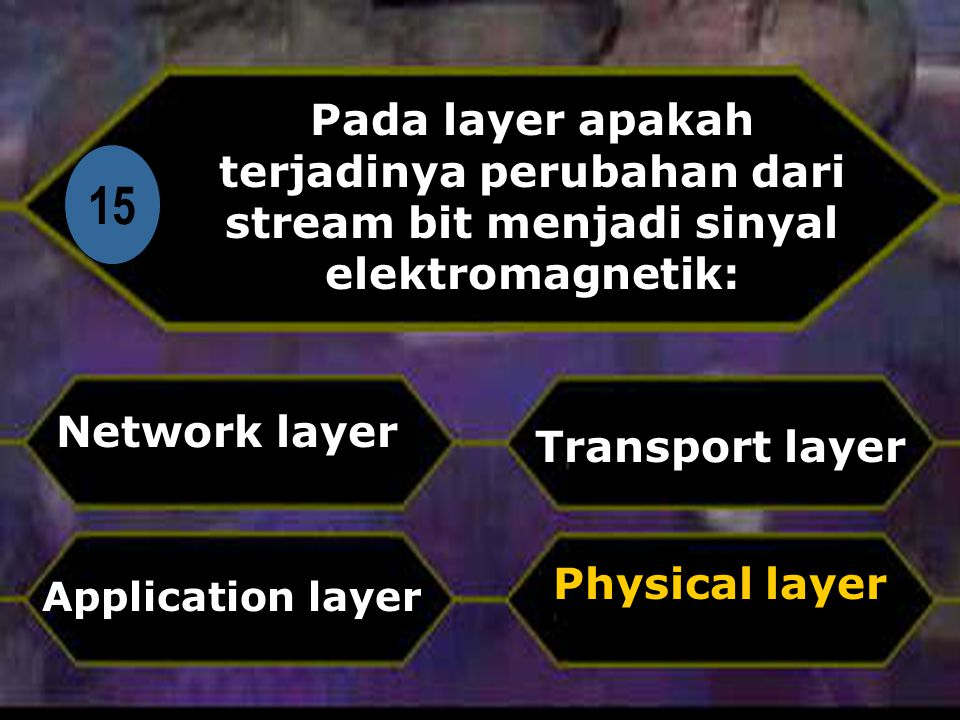 Pada layer apakah terjadinya perubahan dari stream bit menjadi sinyal elektromagnetik:
