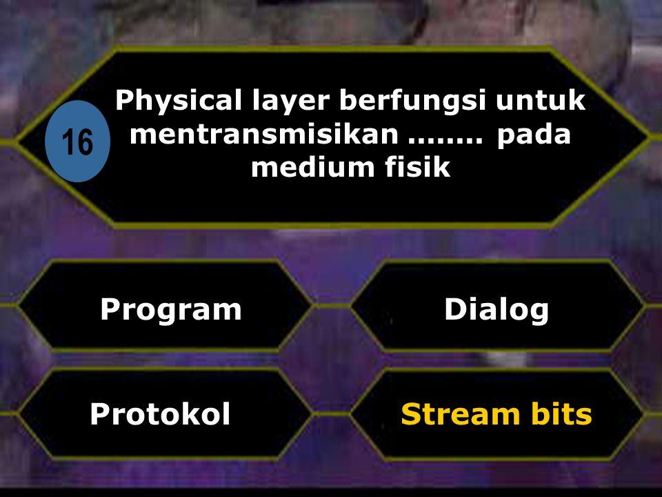 Di Physical layer berfungsi untuk mentransmisikan ........ pada medium fisik. 16. Program. Dialog.