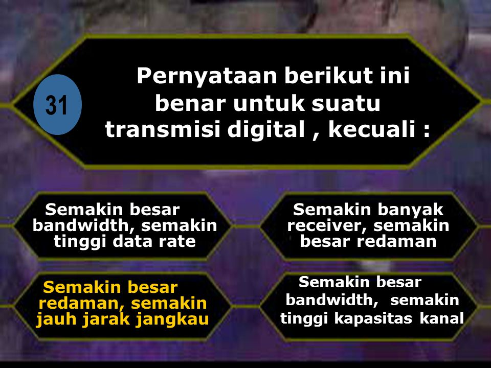 Di Pernyataan berikut ini benar untuk suatu transmisi digital , kecuali : 31. Semakin besar bandwidth, semakin tinggi data rate.