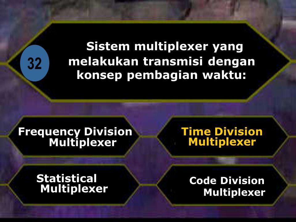 Di Sistem multiplexer yang melakukan transmisi dengan konsep pembagian waktu: 32. Frequency Division Multiplexer.
