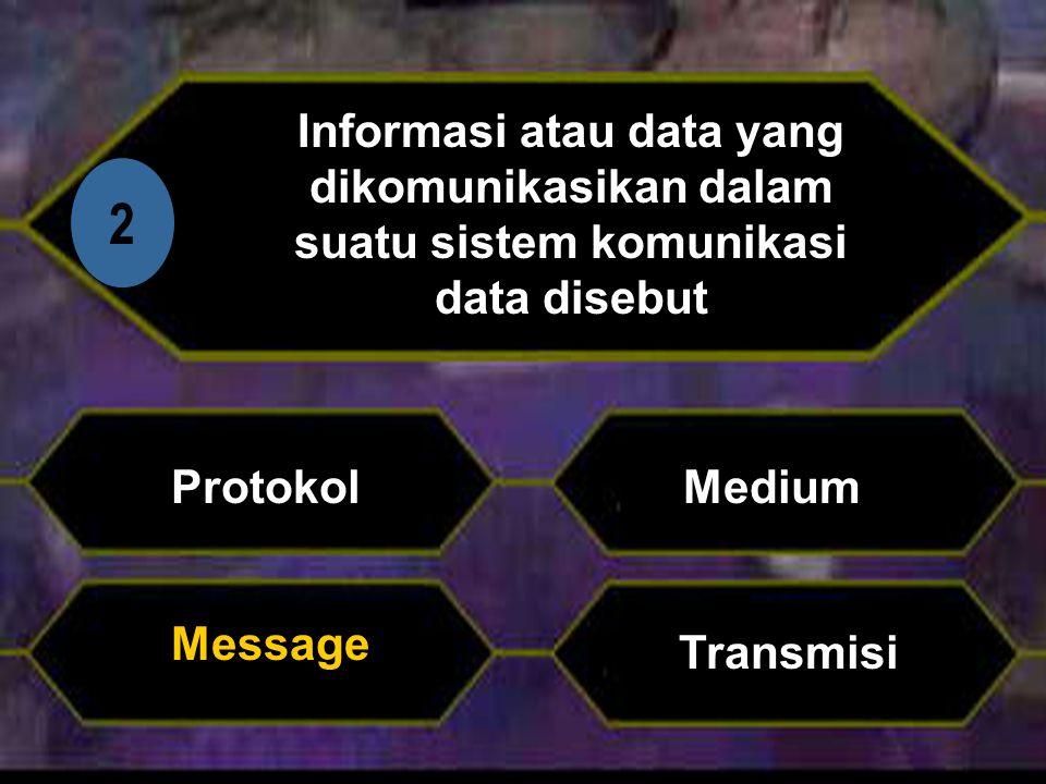 Informasi atau data yang dikomunikasikan dalam suatu sistem komunikasi data disebut