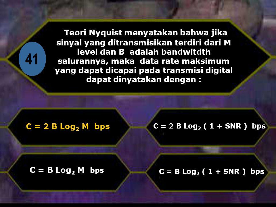 Teori Nyquist menyatakan bahwa jika sinyal yang ditransmisikan terdiri dari M level dan B adalah bandwitdth salurannya, maka data rate maksimum yang dapat dicapai pada transmisi digital dapat dinyatakan dengan :