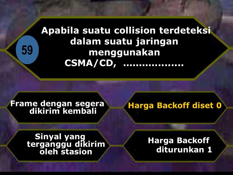 Apabila suatu collision terdeteksi dalam suatu jaringan menggunakan CSMA/CD, ...................