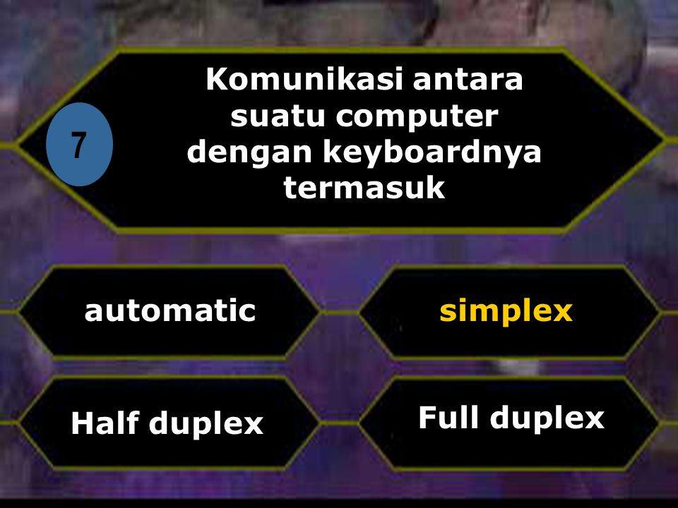 Komunikasi antara suatu computer dengan keyboardnya termasuk