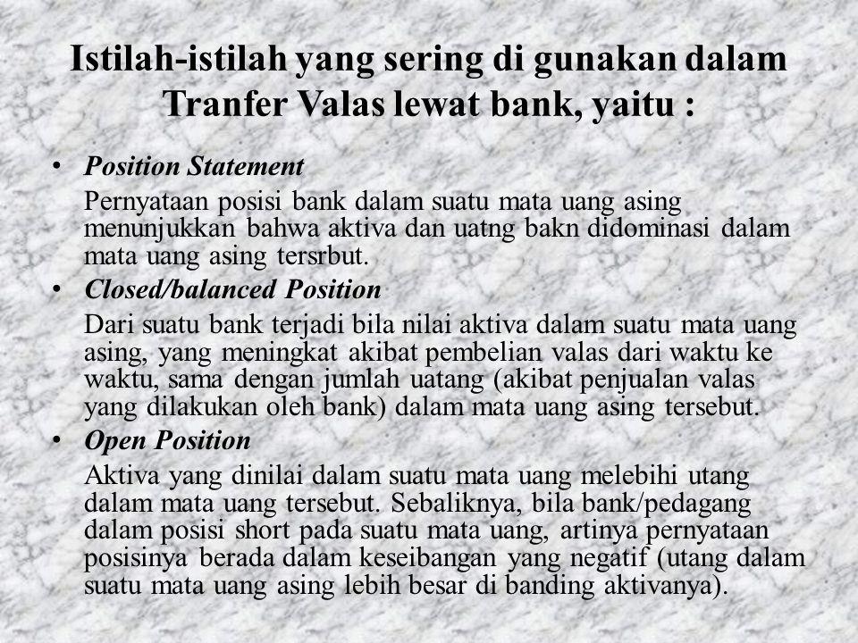 Istilah-istilah yang sering di gunakan dalam Tranfer Valas lewat bank, yaitu :