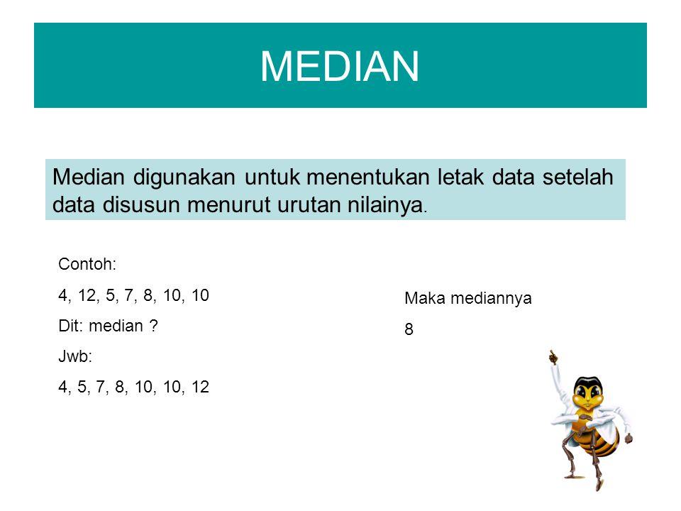 MEDIAN Median digunakan untuk menentukan letak data setelah data disusun menurut urutan nilainya. Contoh: