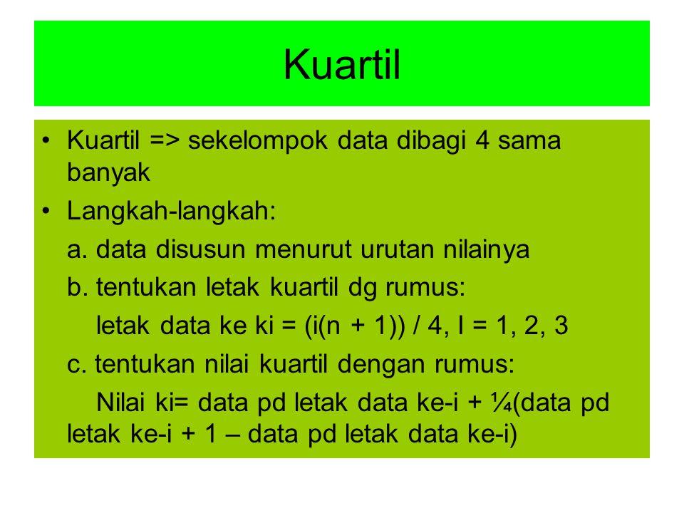 Kuartil Kuartil => sekelompok data dibagi 4 sama banyak