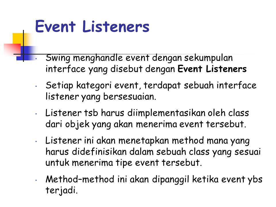 Event Listeners Swing menghandle event dengan sekumpulan interface yang disebut dengan Event Listeners.