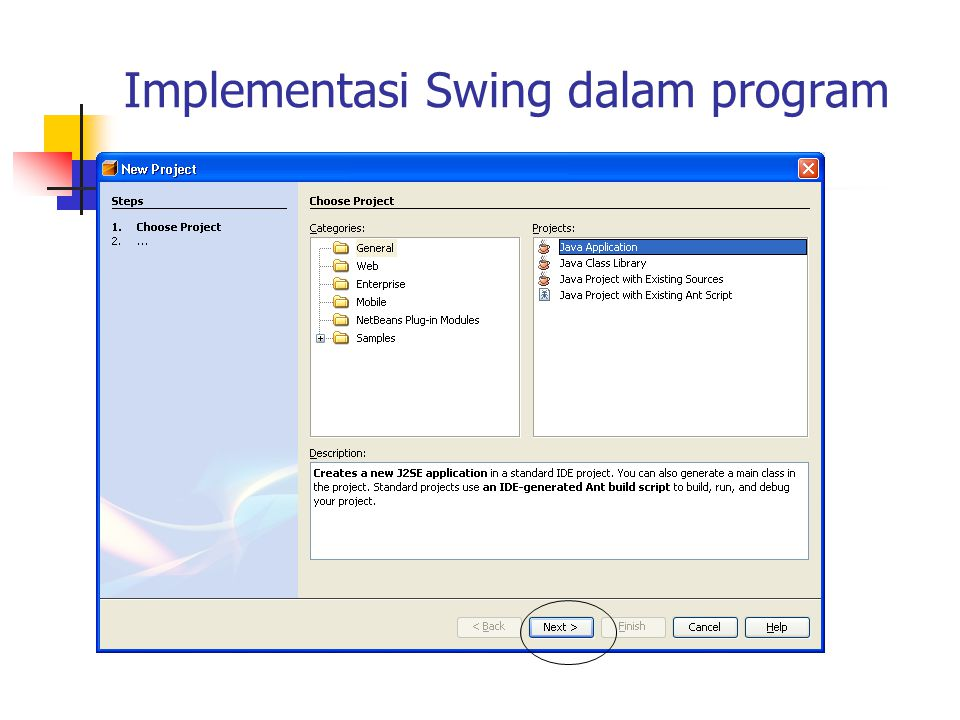 Implementasi Swing dalam program