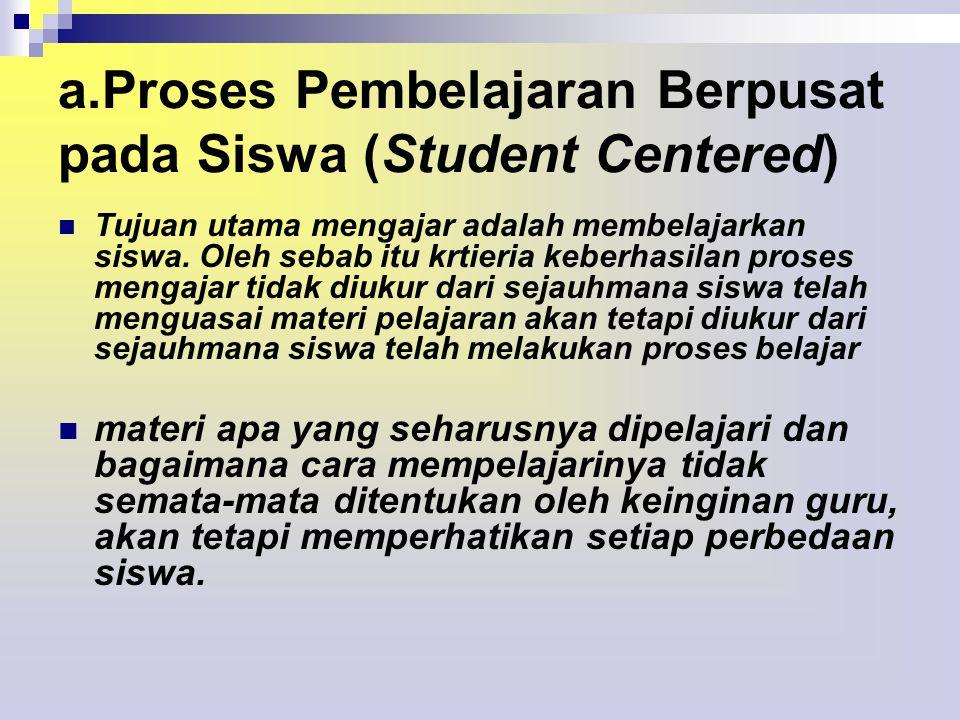 a.Proses Pembelajaran Berpusat pada Siswa (Student Centered)