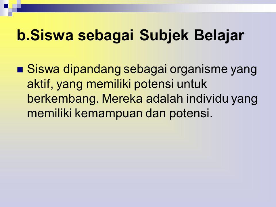b.Siswa sebagai Subjek Belajar