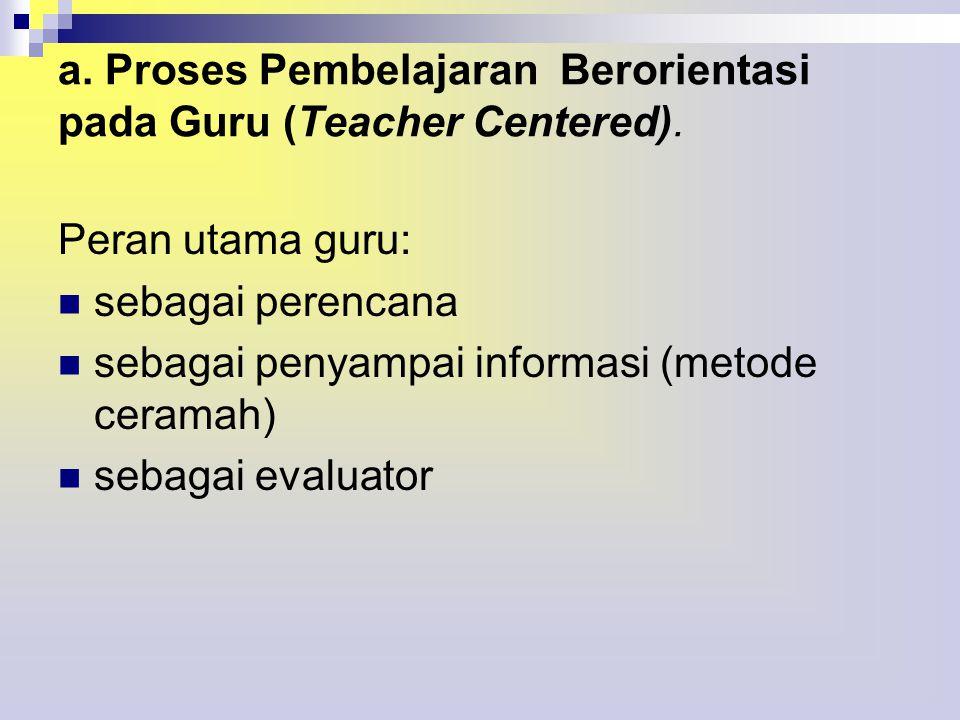 a. Proses Pembelajaran Berorientasi pada Guru (Teacher Centered).