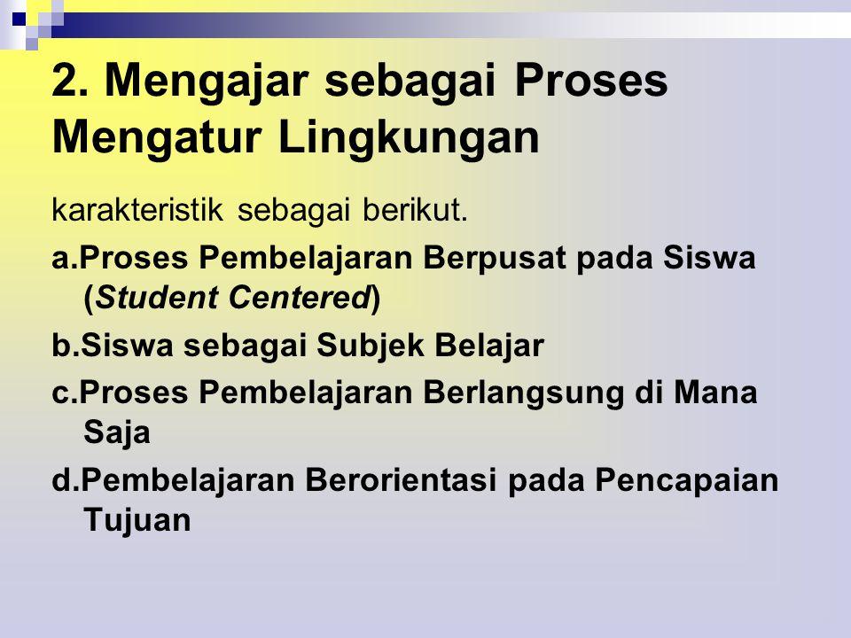 2. Mengajar sebagai Proses Mengatur Lingkungan