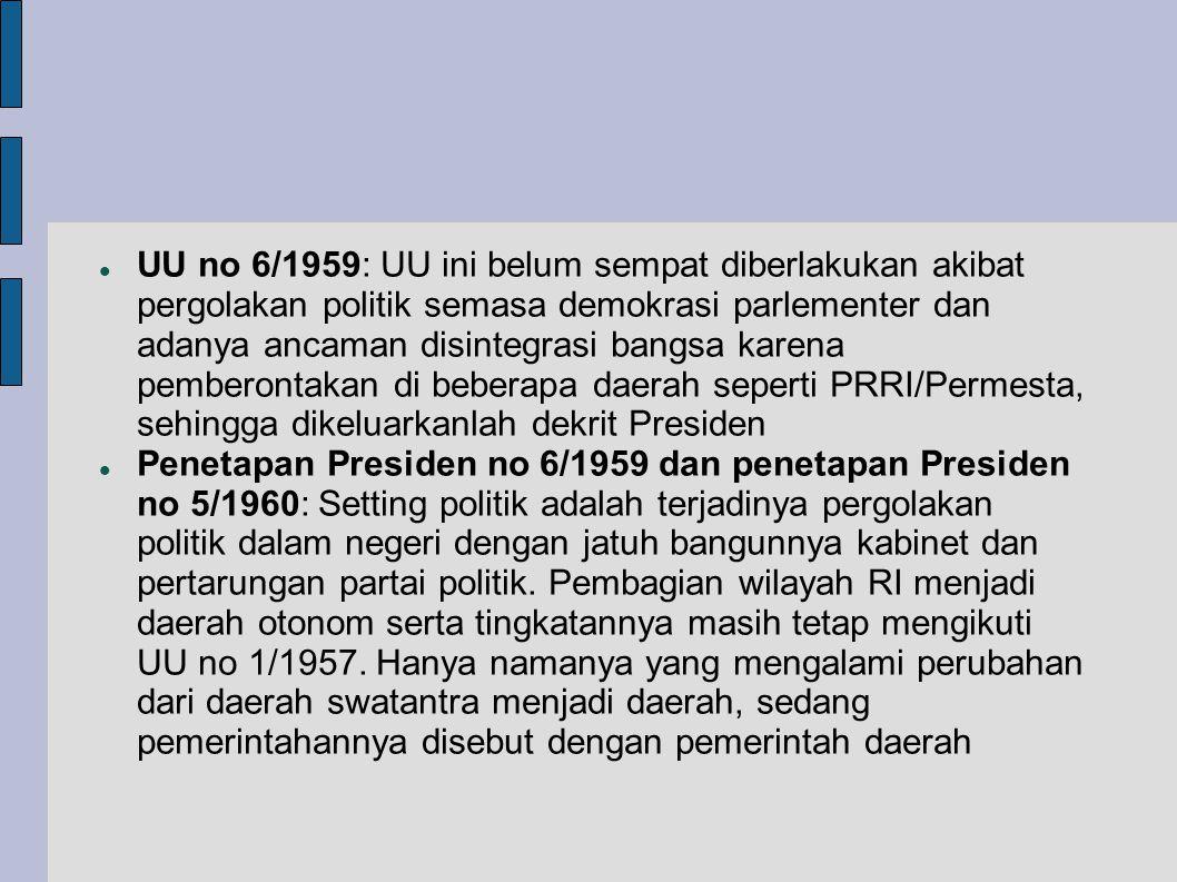 UU no 6/1959: UU ini belum sempat diberlakukan akibat pergolakan politik semasa demokrasi parlementer dan adanya ancaman disintegrasi bangsa karena pemberontakan di beberapa daerah seperti PRRI/Permesta, sehingga dikeluarkanlah dekrit Presiden