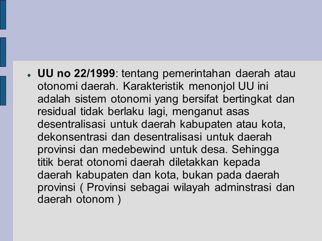 UU no 22/1999: tentang pemerintahan daerah atau otonomi daerah