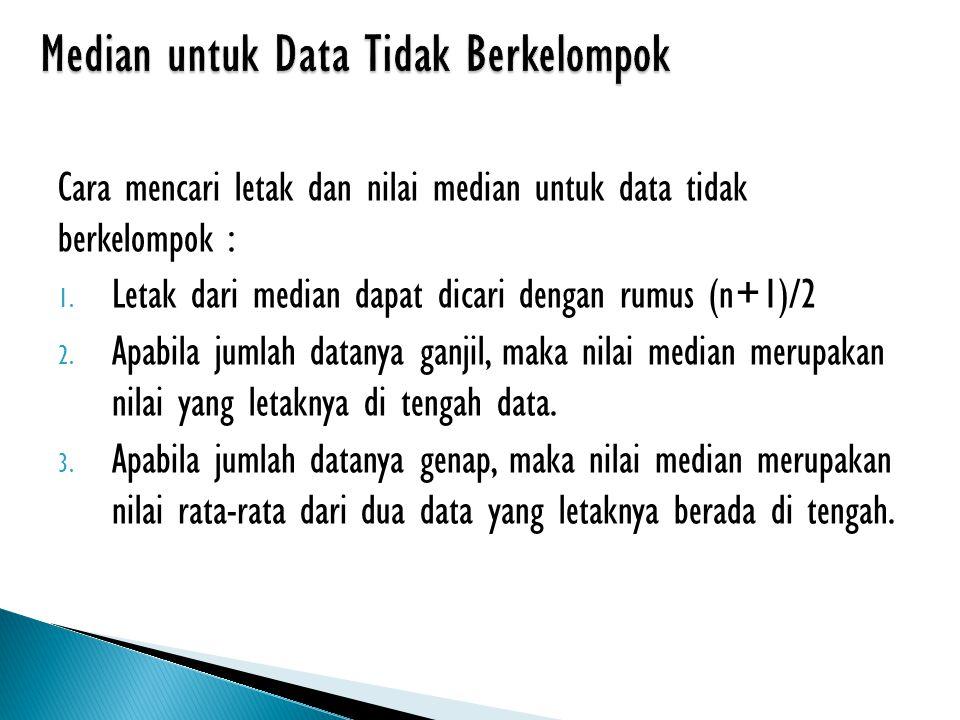 Median untuk Data Tidak Berkelompok