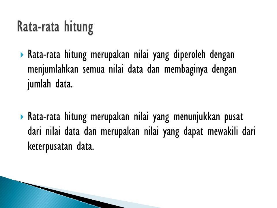 Rata-rata hitung Rata-rata hitung merupakan nilai yang diperoleh dengan menjumlahkan semua nilai data dan membaginya dengan jumlah data.