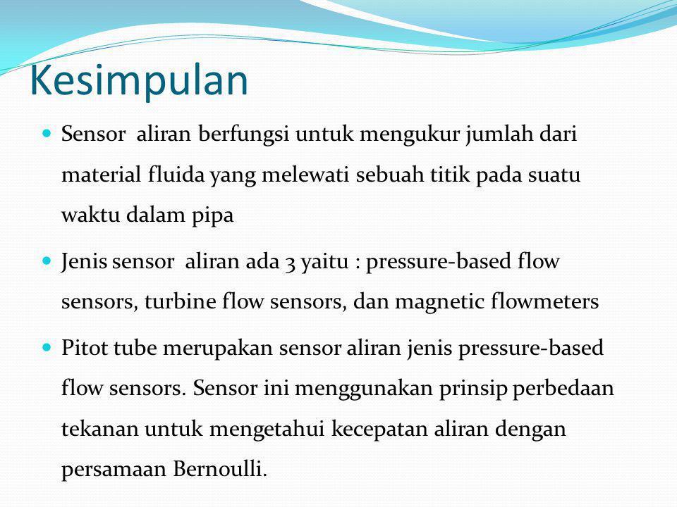 Kesimpulan Sensor aliran berfungsi untuk mengukur jumlah dari material fluida yang melewati sebuah titik pada suatu waktu dalam pipa.