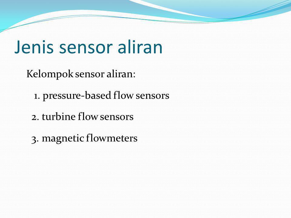 Jenis sensor aliran Kelompok sensor aliran: 1. pressure-based flow sensors 2.