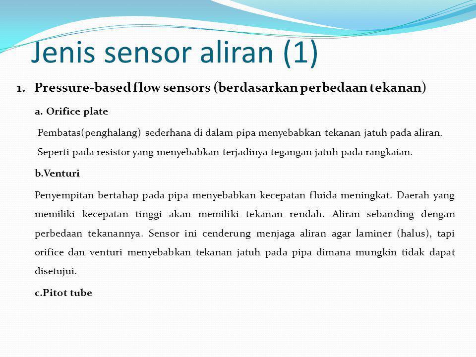 Jenis sensor aliran (1) 1. Pressure-based flow sensors (berdasarkan perbedaan tekanan) a. Orifice plate.