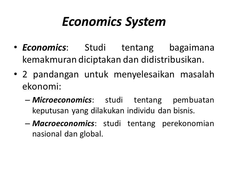Economics System Economics: Studi tentang bagaimana kemakmuran diciptakan dan didistribusikan. 2 pandangan untuk menyelesaikan masalah ekonomi: