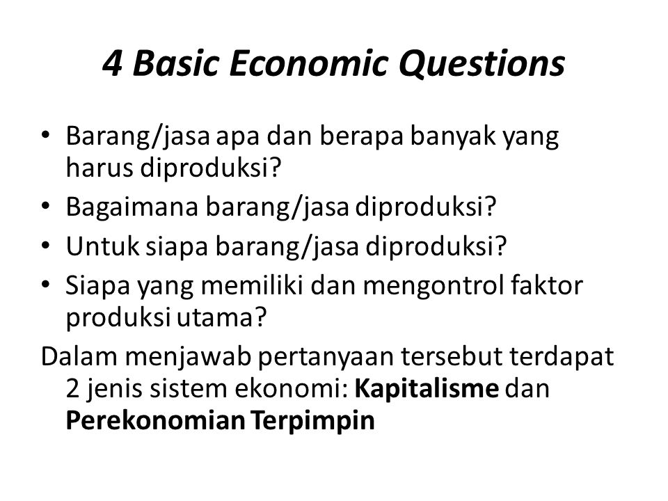 4 Basic Economic Questions