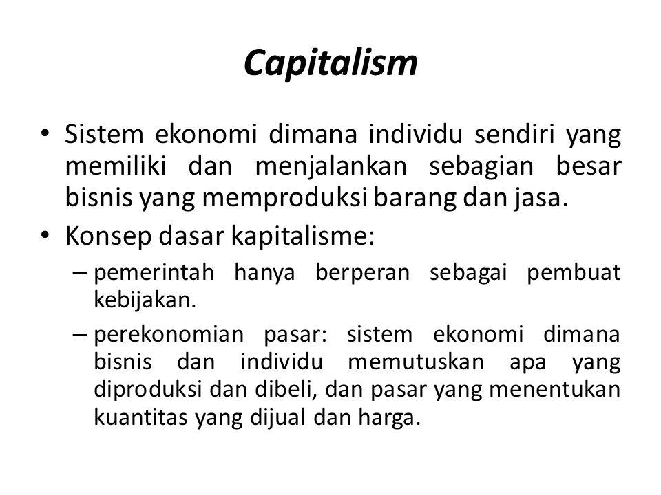 Capitalism Sistem ekonomi dimana individu sendiri yang memiliki dan menjalankan sebagian besar bisnis yang memproduksi barang dan jasa.