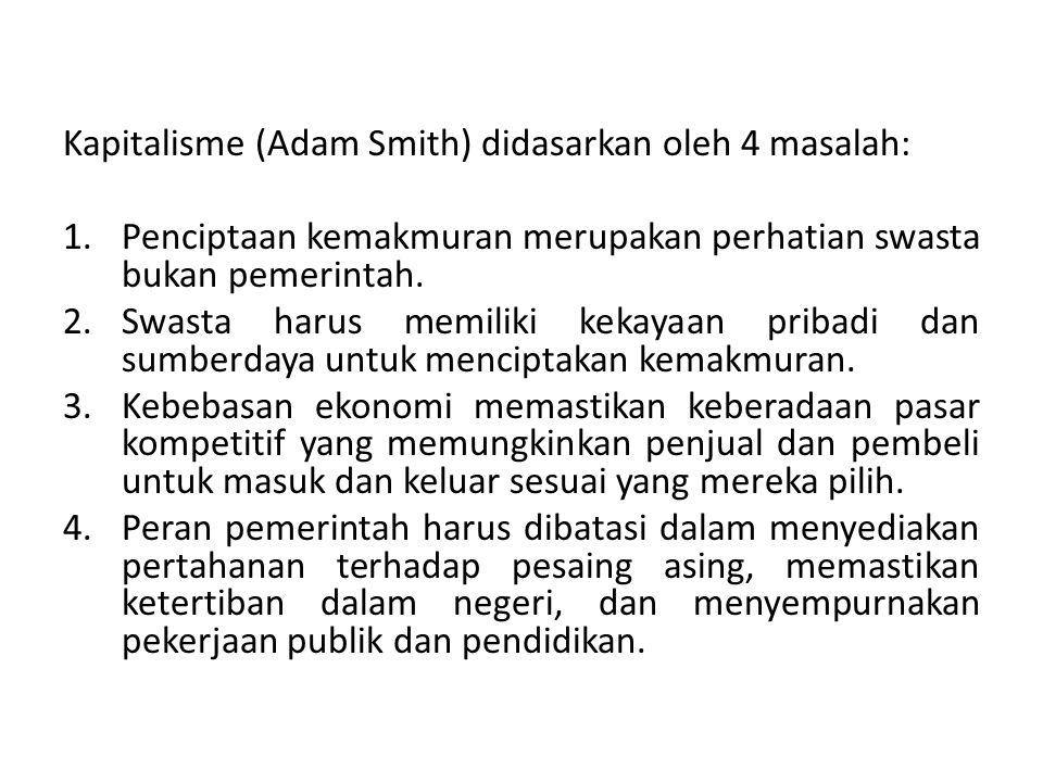 Kapitalisme (Adam Smith) didasarkan oleh 4 masalah: