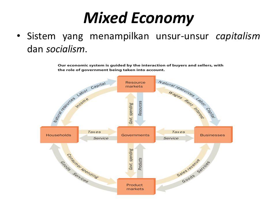 Mixed Economy Sistem yang menampilkan unsur-unsur capitalism dan socialism.
