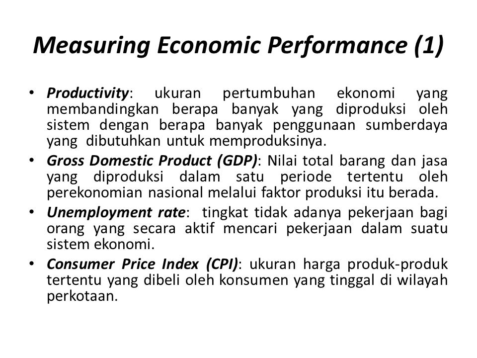 Measuring Economic Performance (1)