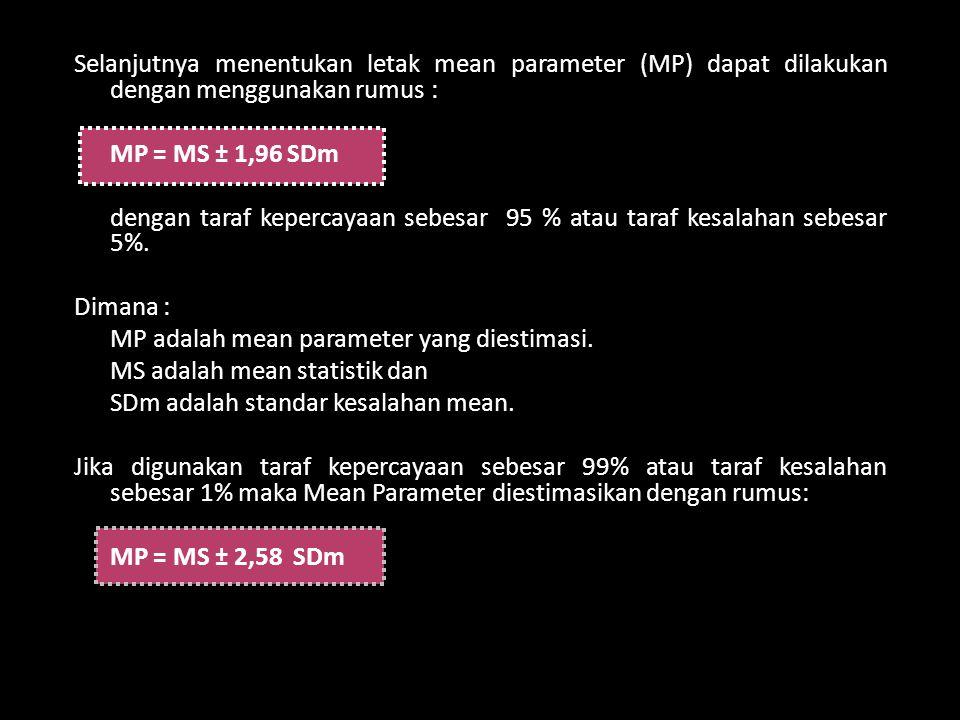 Selanjutnya menentukan letak mean parameter (MP) dapat dilakukan dengan menggunakan rumus : MP = MS ± 1,96 SDm dengan taraf kepercayaan sebesar 95 % atau taraf kesalahan sebesar 5%.