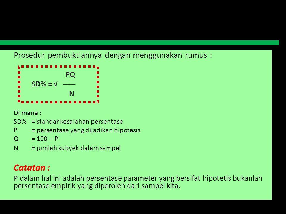 Prosedur pembuktiannya dengan menggunakan rumus : PQ SD% = √ ─── N