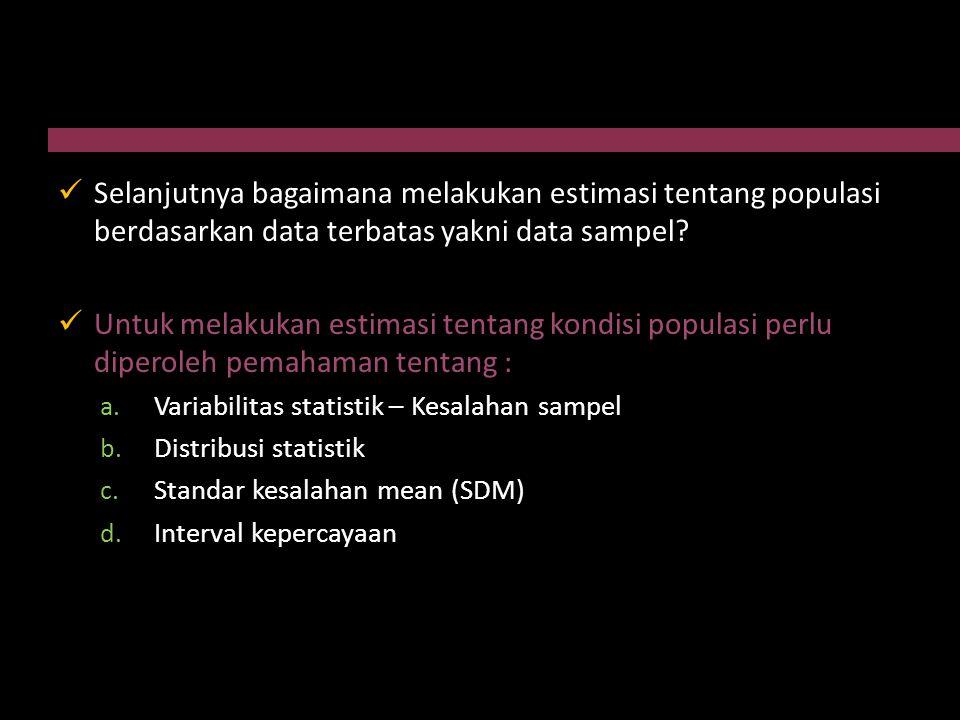 Selanjutnya bagaimana melakukan estimasi tentang populasi berdasarkan data terbatas yakni data sampel