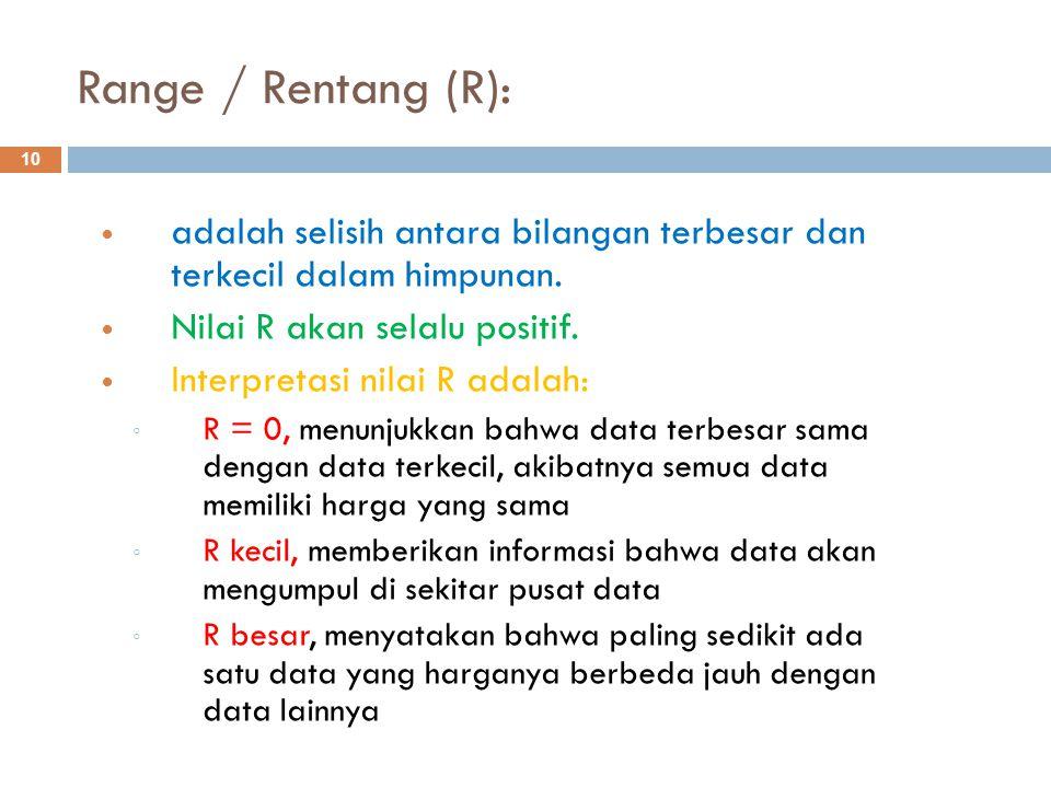 Range / Rentang (R): adalah selisih antara bilangan terbesar dan terkecil dalam himpunan. Nilai R akan selalu positif.