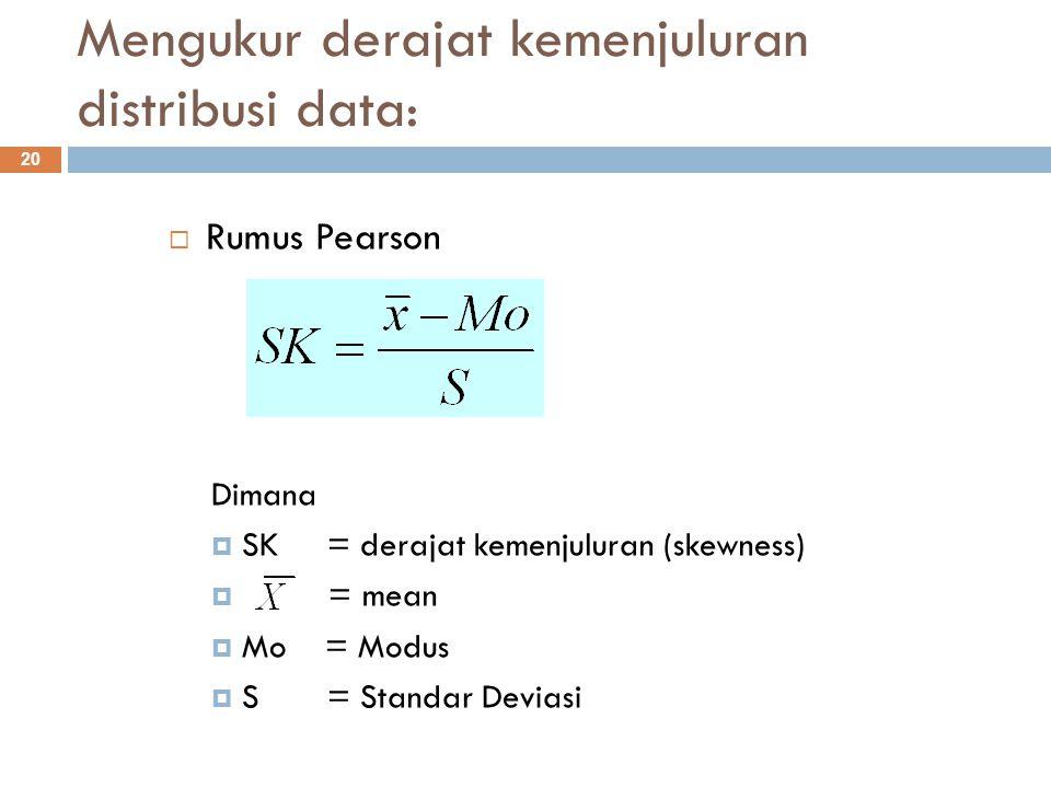 Mengukur derajat kemenjuluran distribusi data: