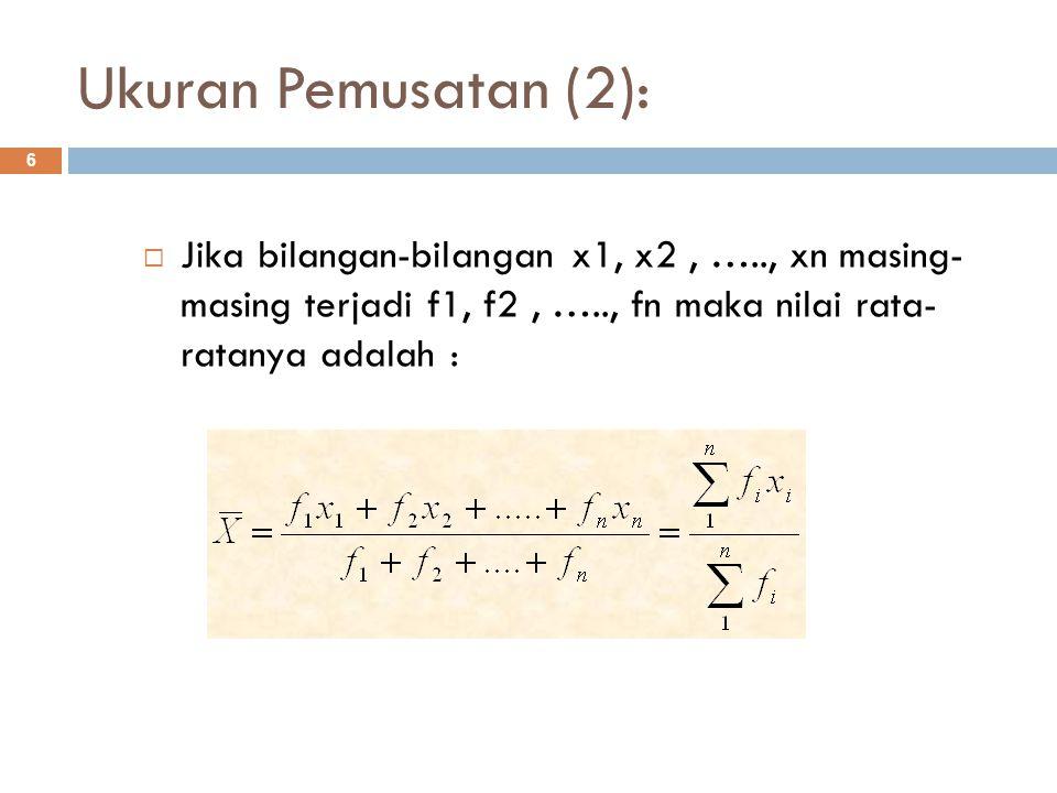 Ukuran Pemusatan (2): Jika bilangan-bilangan x1, x2 , ….., xn masing- masing terjadi f1, f2 , ….., fn maka nilai rata- ratanya adalah :