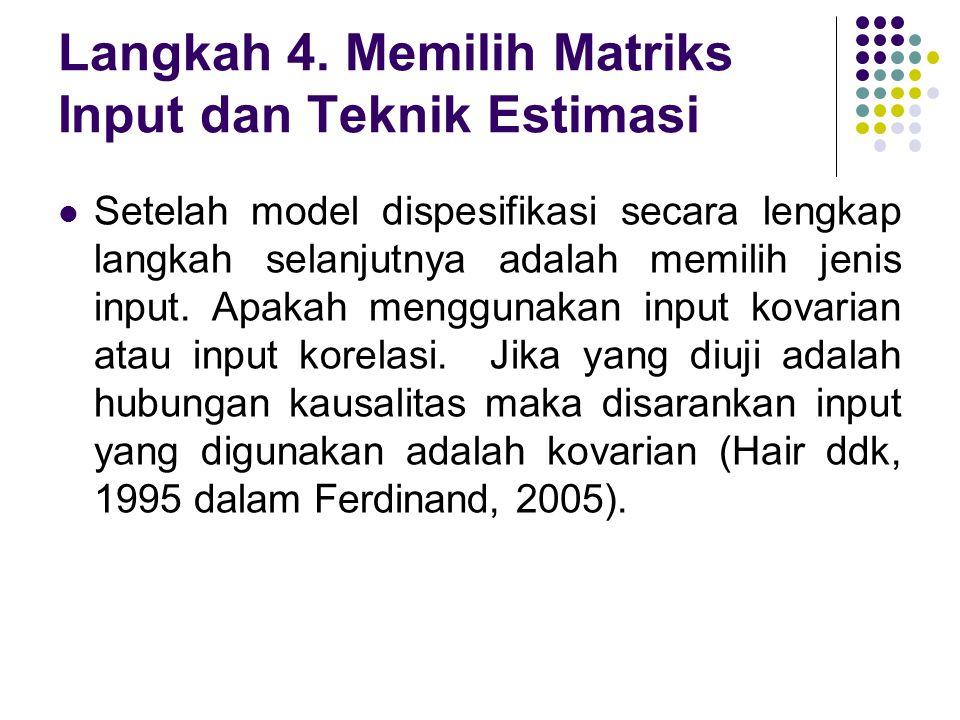 Langkah 4. Memilih Matriks Input dan Teknik Estimasi