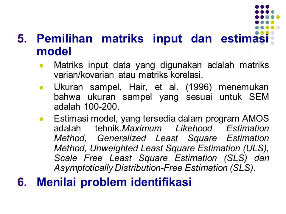 Pemilihan matriks input dan estimasi model