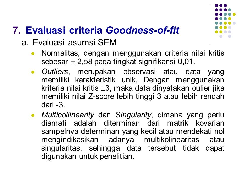 Evaluasi criteria Goodness-of-fit