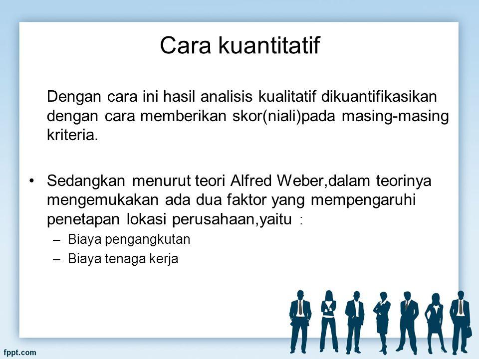 Cara kuantitatif Dengan cara ini hasil analisis kualitatif dikuantifikasikan dengan cara memberikan skor(niali)pada masing-masing kriteria.