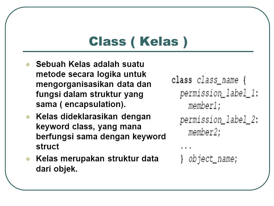 Class ( Kelas ) Sebuah Kelas adalah suatu metode secara logika untuk mengorganisasikan data dan fungsi dalam struktur yang sama ( encapsulation).