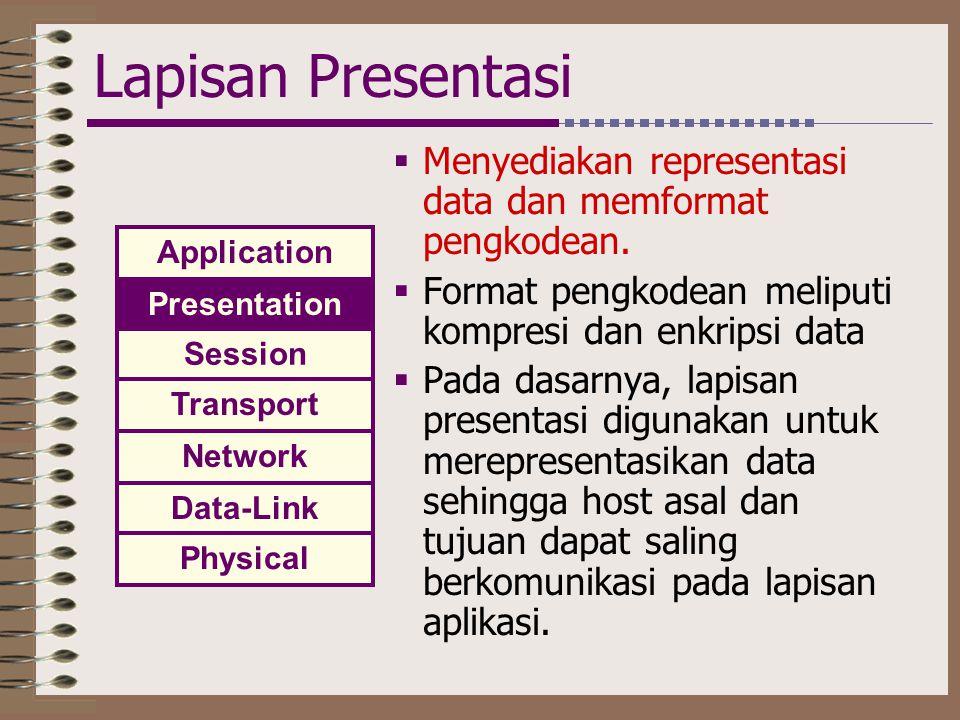 Lapisan Presentasi Menyediakan representasi data dan memformat pengkodean. Format pengkodean meliputi kompresi dan enkripsi data.