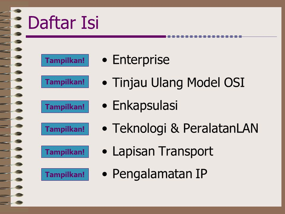 Daftar Isi Enterprise Tinjau Ulang Model OSI Enkapsulasi