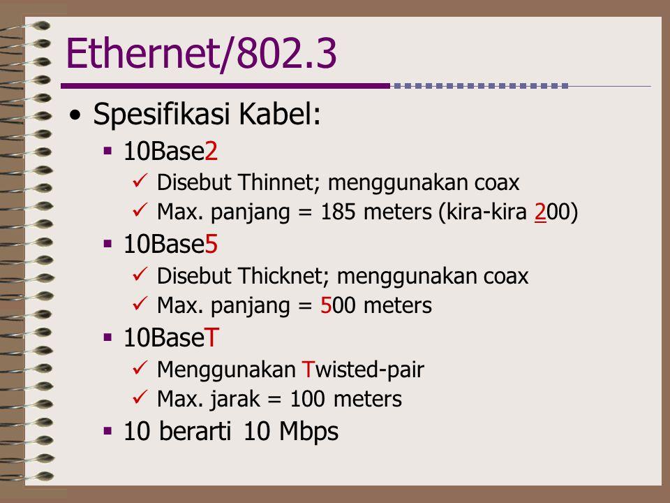 Ethernet/802.3 Spesifikasi Kabel: 10Base2 10Base5 10BaseT