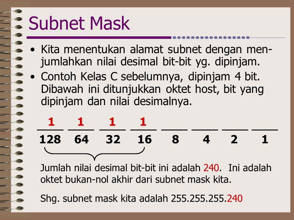 Subnet Mask Kita menentukan alamat subnet dengan men-jumlahkan nilai desimal bit-bit yg. dipinjam.