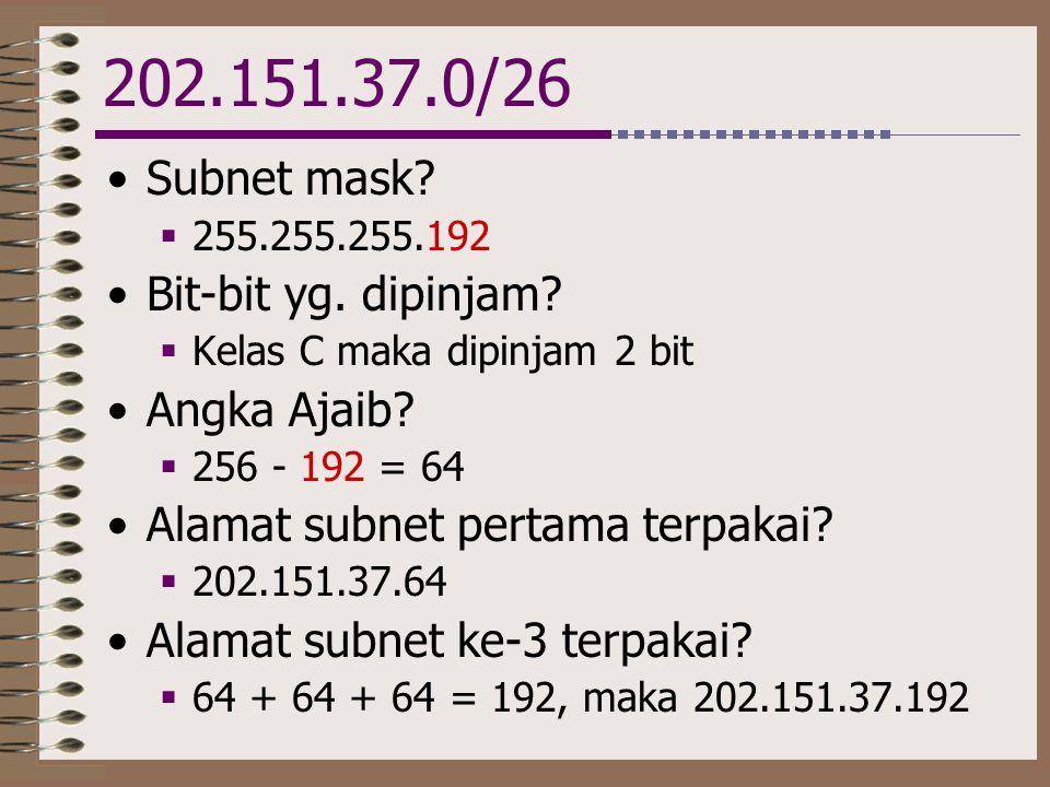 202.151.37.0/26 Subnet mask Bit-bit yg. dipinjam Angka Ajaib
