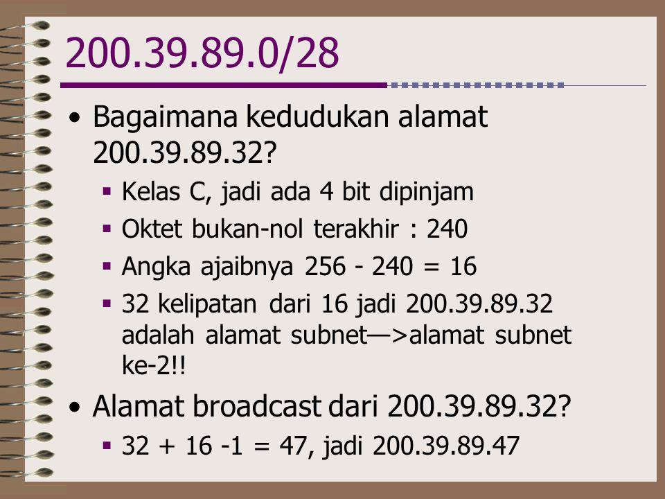 200.39.89.0/28 Bagaimana kedudukan alamat 200.39.89.32